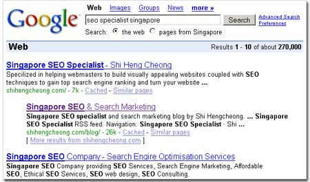 Top Search Ranking for Blog