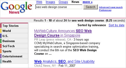 SEO Web Design Course Press Release on Google news