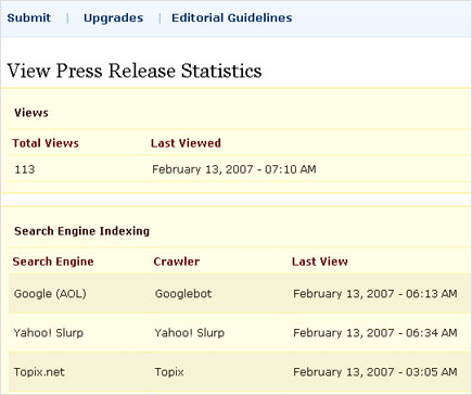 SEO Web Design Course press release stats