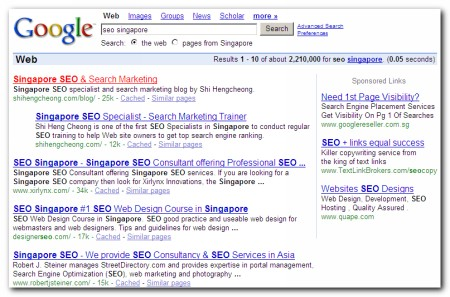 Ranked No. 1 for seo singapore