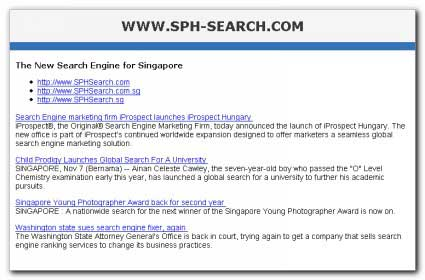 SPH-Search.com one-page web site