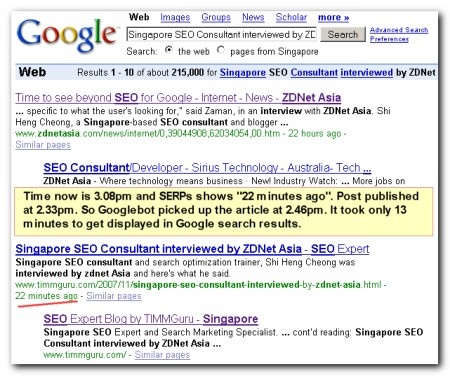 Indexed and listed in Google SERPs in 13 minutes