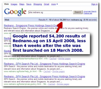 Google results on Rednano.sg